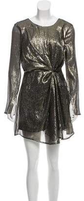LoveShackFancy Metallic Long Sleeve Mini Dress