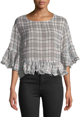 Haute Rogue Molly Check Chiffon Ruffle Blouse