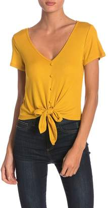 GOOD LUCK GEM Tie Front Ribbed V-Neck Tee