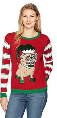 Ugly Christmas Sweater Company Women's Elf Pug Sweater