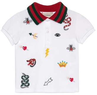 Gucci Baby polo with symbols embroidery
