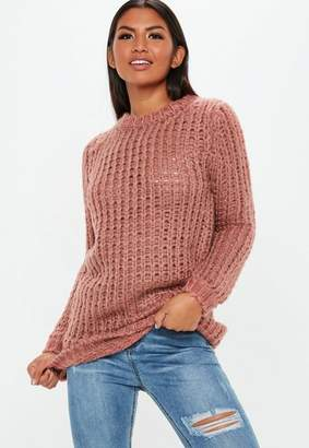 Missguided Rose Chunky Knit Oversized Sweater Dress