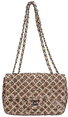 One Kings Lane Vintage Chanel Beige & Gold Sequin Flap Bag - Vintage Lux