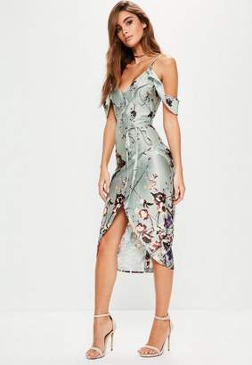 Missguided Frill Floral Midi Dress