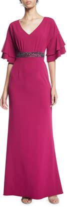 Adrianna Papell Flutter-Sleeve Glitter-Belted V-Neck Crepe Gown