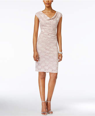 Connected Petite Cowl-Neck Lace Sheath Dress