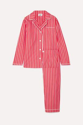729d638287 Sleepy Jones - Bishop Striped Cotton-poplin Pajama Set - Tomato red
