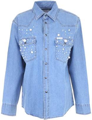 Couture Forte Denim Shirt With Pearls
