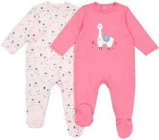 La Redoute COLLECTIONS Pack of 2 Cotton Llama Print Sleepsuits, Birth-3 Years
