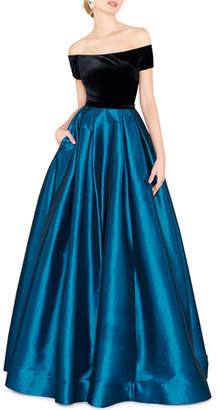Mac Duggal Off-the-Shoulder Short-Sleeve Velvet Bodice Taffeta Ball Gown