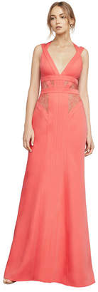 BCBGMAXAZRIA Reese Lace-Insert Satin Gown