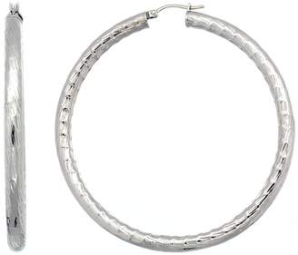 Sabrina Silver Surgical Steel 2 3/4 inch Hoop Earrings Bamboo Embossed Pattern 5 mm Fat tube, feather weigh