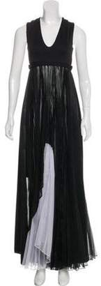 Alexis Sleeveless Pleat-Accented Maxi Dress Black Sleeveless Pleat-Accented Maxi Dress