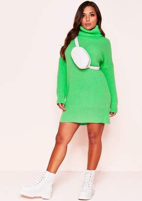 a398bfb3e7 Missy Empire Missyempire Poppy Neon Green Roll Neck Knit Jumper Dress