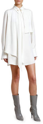 Stella McCartney Scarf-Neck Long-Sleeve Mini Shirtdress