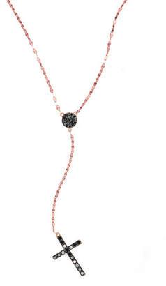 Lana Reckless Rose Black Diamond Cross Necklace