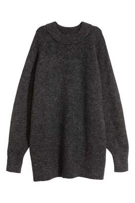 H&M Long Wool-blend Sweater - Dark gray - Women
