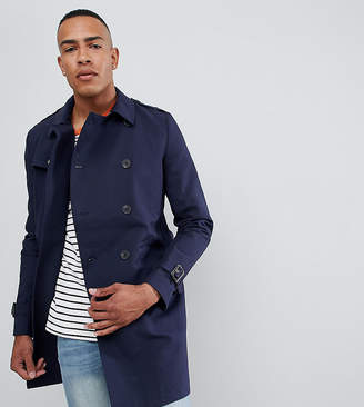 Asos Design DESIGN Tall shower resistant double breasted trench in navy