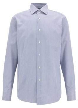 BOSS Hugo Tailored regular-fit shirt in striped Italian cotton twill 14.5 Dark Blue