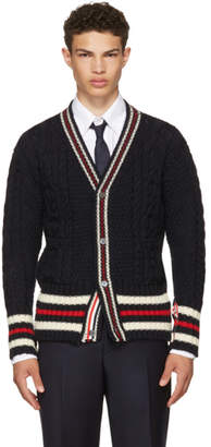 Thom Browne Navy Aran Cable Cricket Stripe Classic V-Neck Cardigan