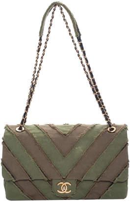 Chanel Green Canvas Chevron Patchwork Jumbo Flap Bag