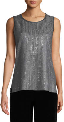 St. John Metallic Plaited Knit Shell Top with Sequins