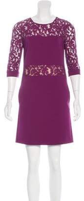 Alberta Ferretti Lace-Paneled Shift Dress