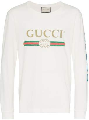 Gucci dragon embroidered logo print cotton t shirt