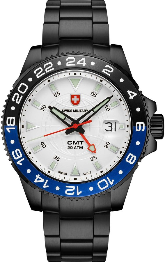 Swiss Military Men's Army 42mm Black Ip Steel Bracelet Swiss Quartz Watch 2775
