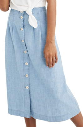 Madewell Chambray Patio Button Front Midi Skirt
