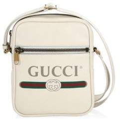 Gucci Logo Print Leather Shoulder Bag