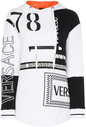 Versace front zip detail logo drawstring hoodie