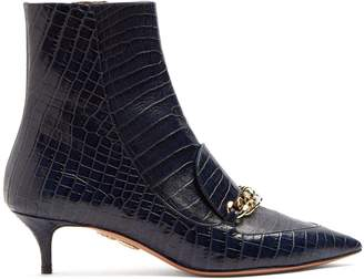 Editor 45 Crocodile Effect Leather Ankle Boots - Womens - Navy