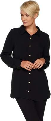 Susan Graver Petite Stretch Woven Button Front Shirt