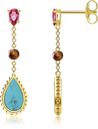 Thomas Sabo Yellow Gold Plated Sterling Silver Riviera Colours Earrings w/Turquoise, Synthetic Red Corundum and Tiger Eye Stones