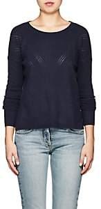 Barneys New York WOMEN'S POINTELLE-STITCHED CASHMERE CREWNECK SWEATER-NAVY SIZE XL