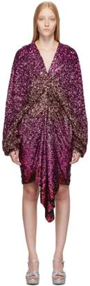 Halpern Pink Degrade Sequin Voluminous Sleeve Dress