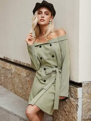 Shein Simplee Striped Double Button Belted Bardot Blazer Dress