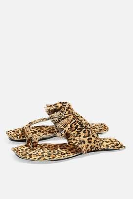 Topshop Fleur Fringed Leopard Print Sandals