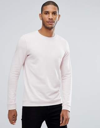Tom Tailor Crew Neck Sweatshirt In Pink Pigment Dye