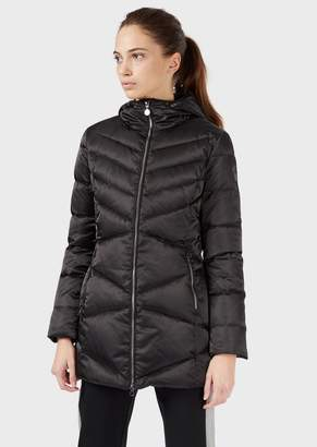 Emporio Armani Ea7 Long Down Jacket With Hood And Full Zip Closure