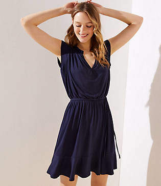 LOFT Ruffled Split Neck Dress