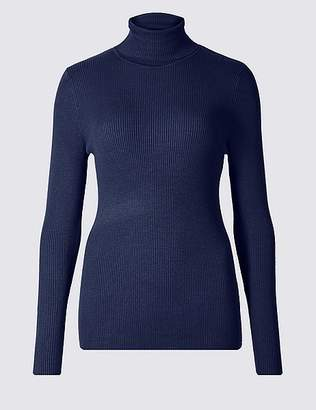 Marks and Spencer Ribbed Polo Neck Jumper