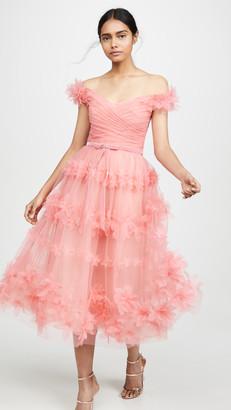 Marchesa Off Shoulder Tea Length Gown