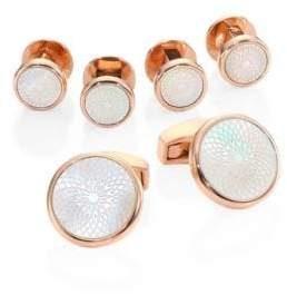 Tateossian Rotondo Guilloche Mother-of-Pearl Rose Goldplated Cufflinks& Shirt Studs Set