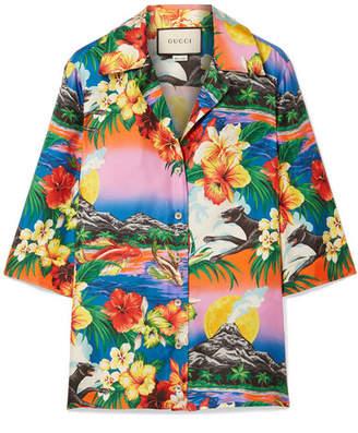 Gucci Printed Silk-twill Shirt - Orange