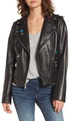 Women's Sam Edelman Grommet Detail Leather Jacket