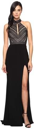 Faviana Lace Halter w/ Keyhole Jersey Skirt S7932 Women's Dress