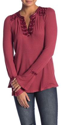 Lucky Brand Embroidered Drop Needle Long Sleeve Shirt