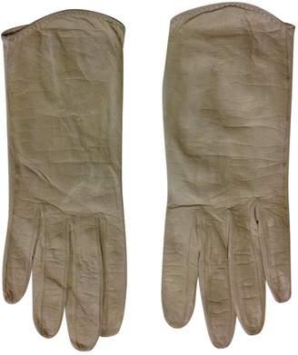 Hermes Vintage Beige Leather Gloves